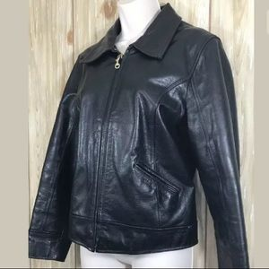 COACH Women Black Leather Jacket Coat Zip Up